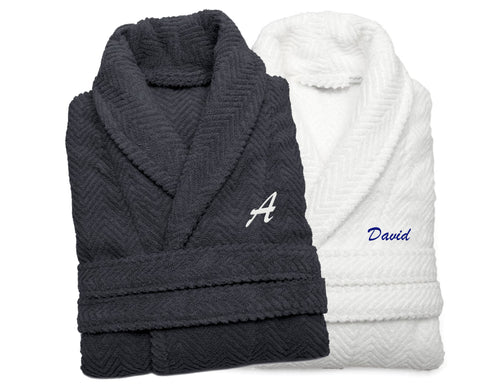Adult Herringbone Bathrobe White or Gray