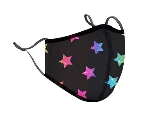 Rainbow Stars Adjustable Face Mask With Nose Wire and Filter Pocket Washable Adult and Kids