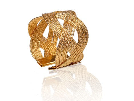 Set Of 6 Gold Napkin Rings Woven Design