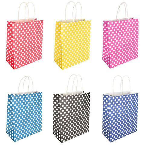 MEDIUM POLKA DOT WHITE KRAFT BAGS