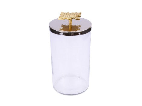"Glass Canister With Mosaic Handle - 4""D X 10""H"