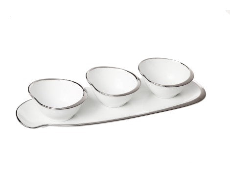 White Ceramic Rectangular Tray with 3 Bowls with Silver Border