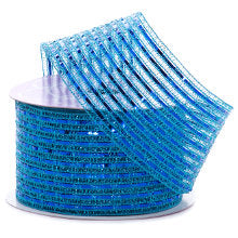 Turq/Royal Tinsel Stripe Metallic Ribbon