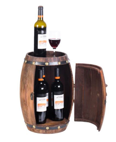 Wooden Barrel Shaped Vintage Decorative Wine Storage Rack