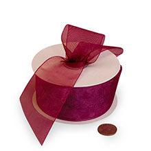Wine Shimmer Organza Ribbon