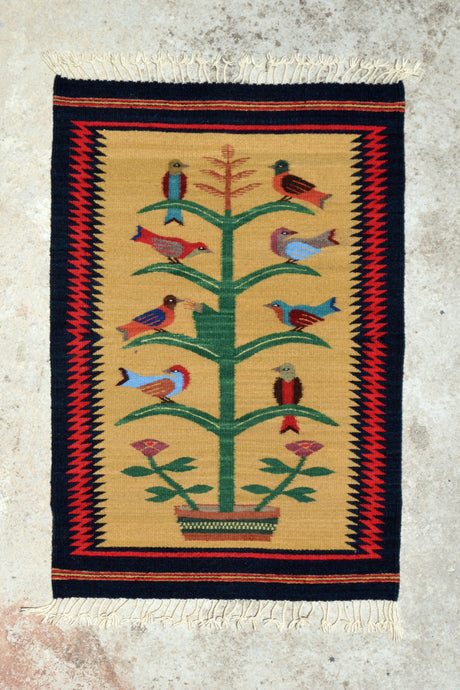 Zig Zag Tree of Life Handwoven Rug