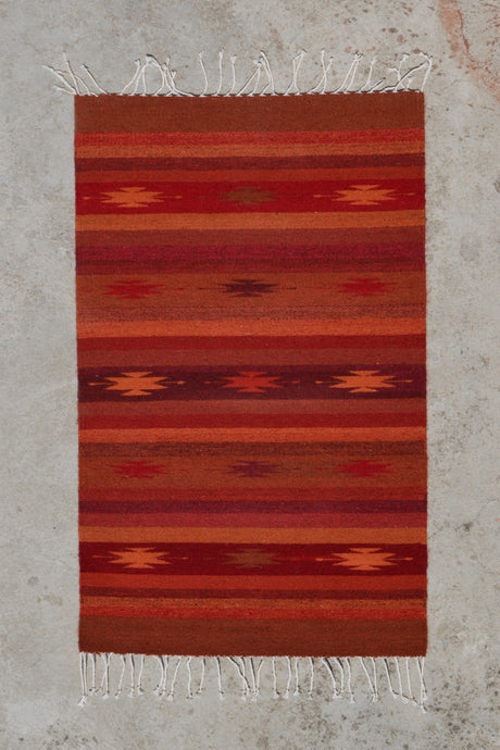 Cochineal Diamonds Handwoven Rug