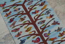 Light Blue Tree of Life Handwoven Rug