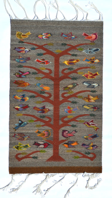 Grey Tree of Life Handwoven Rug