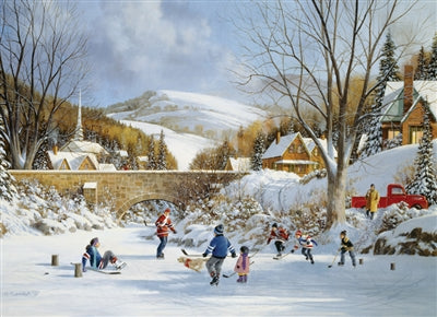 Hockey on Frozen Lake - 1000 piece