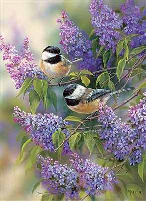 Chickadees and Lilacs - 1000 piece