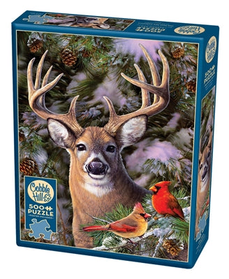 One Deer Two Cardinals - 500 piece