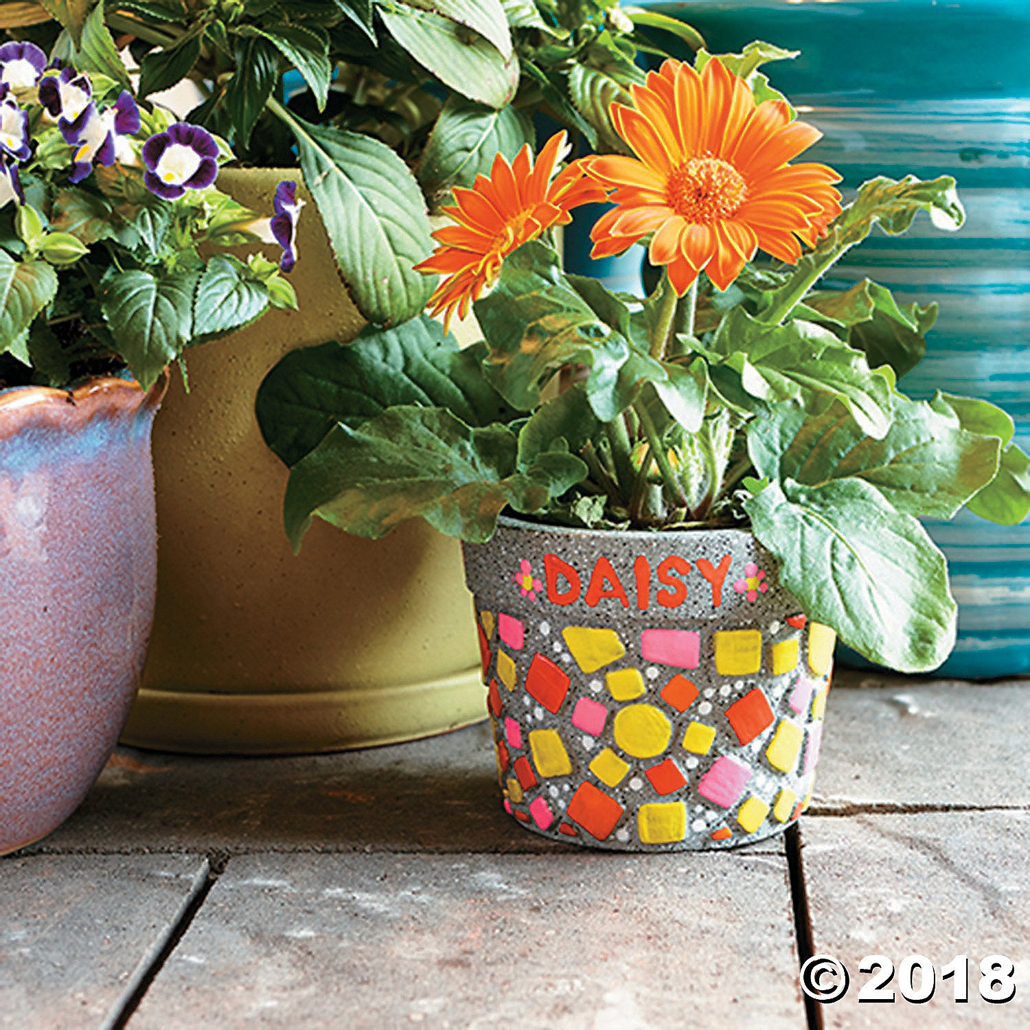 Paint Your Own Stone: ‭Mosaic Flower Pot