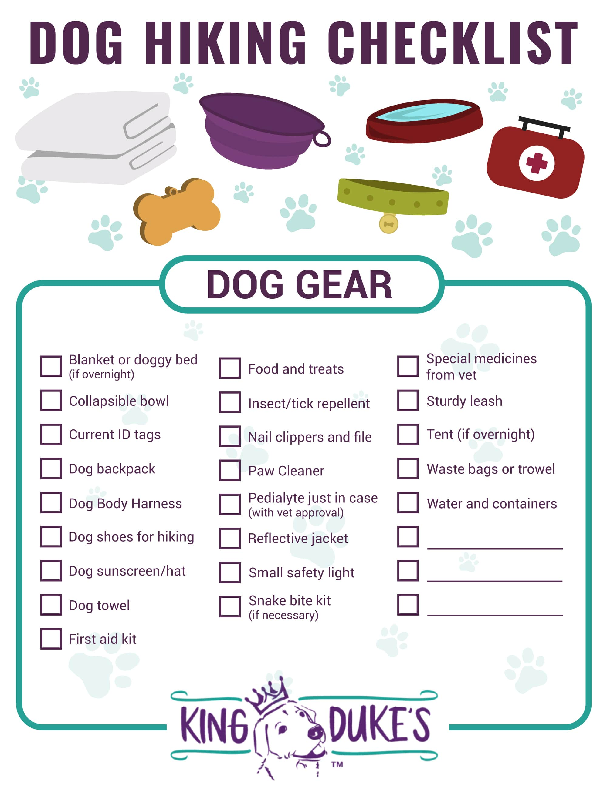 Dog Hiking Checklist with Dog Hiking Gear