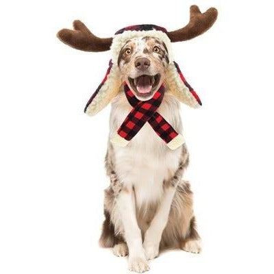 Huxley & Kent Red Buffalo Plaid Dog Hat with Antlers