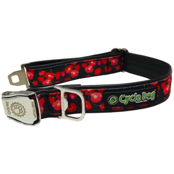 Cycle Dog Flower Coral Poppies Dog Collar