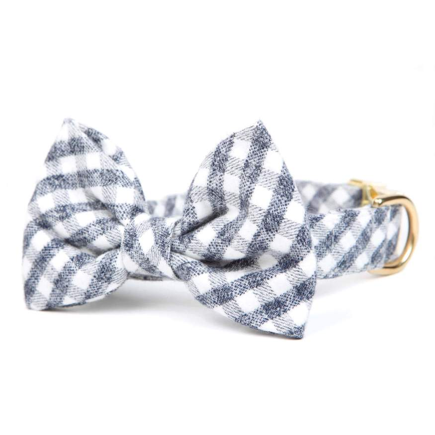 Foggy Dog - Gray and White Check Flannel Bow Tie and Collar Set
