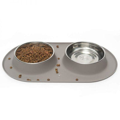 Large Double Bowl Feeder in Grey by Messy Mutts