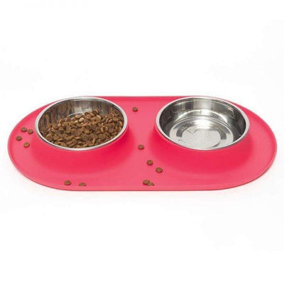 Medium Double Bowl Feeder in Red by Messy Mutts