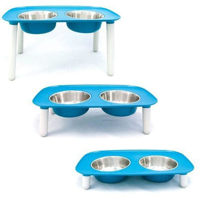 Elevated Double Dog Feeder in Blue by Messy Mutts