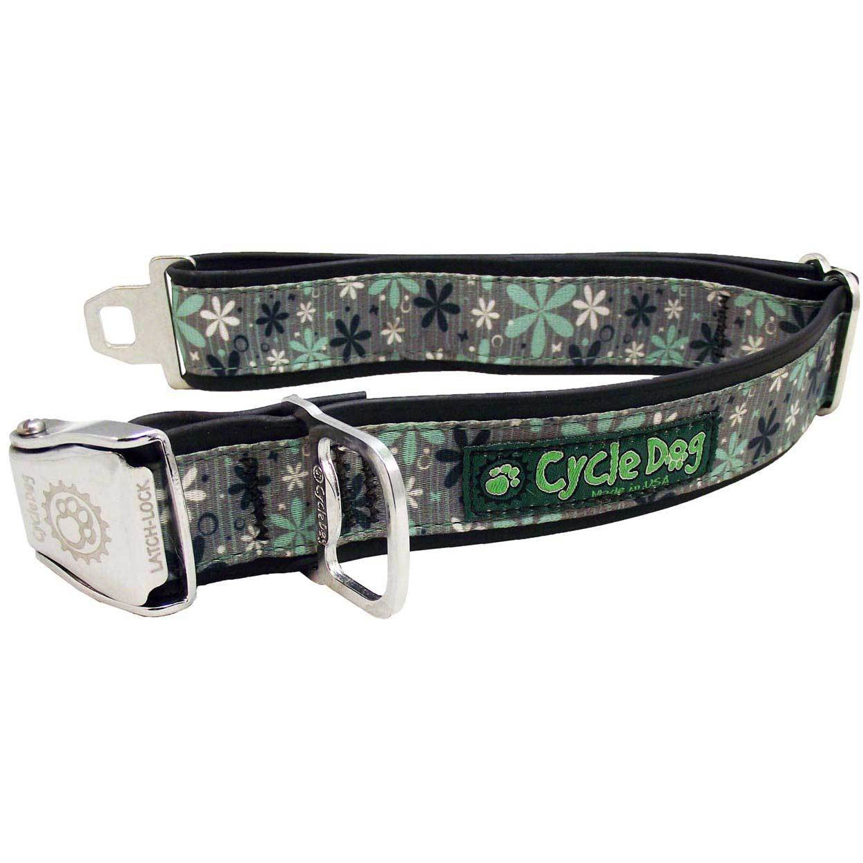 Cycle Dog Mint Retro Flowers Dog Collar