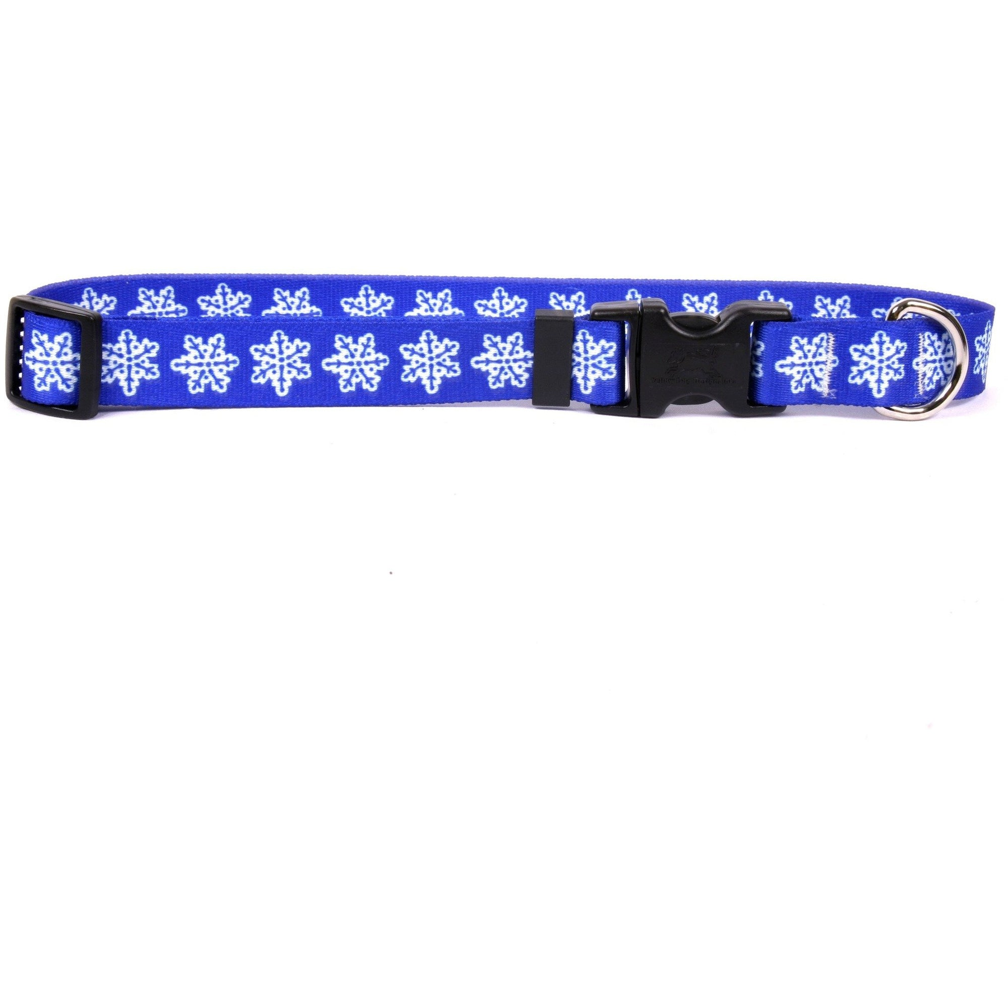 Yellow Dog Design Holiday Blue Snowflakes Collar