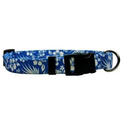 Hawaiian Floral Aloha Blue, Dog Collar