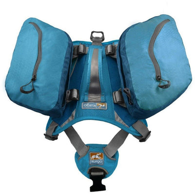 top view of coastal blue dog hiking backpack