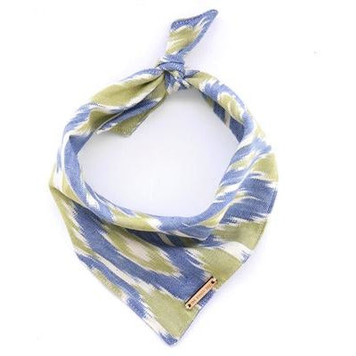 The Foggy Dog - Blue & Green Ikat Bandana