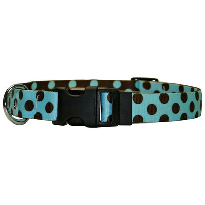 Yellow Dog Design Blue & Brown Polka Dot Dog Collar