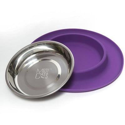 Messy Cats Stainless Steel Cat Feeder with Non-Slip Silicone Base