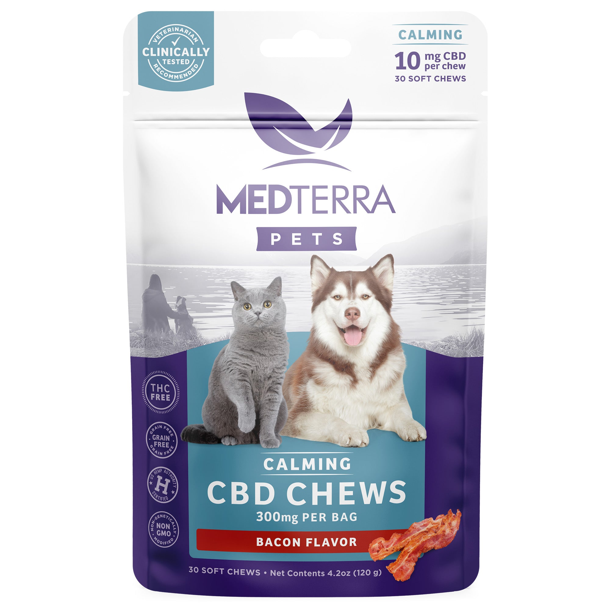 Medterra CBD Calming Chews for Pets - Bacon Flavor
