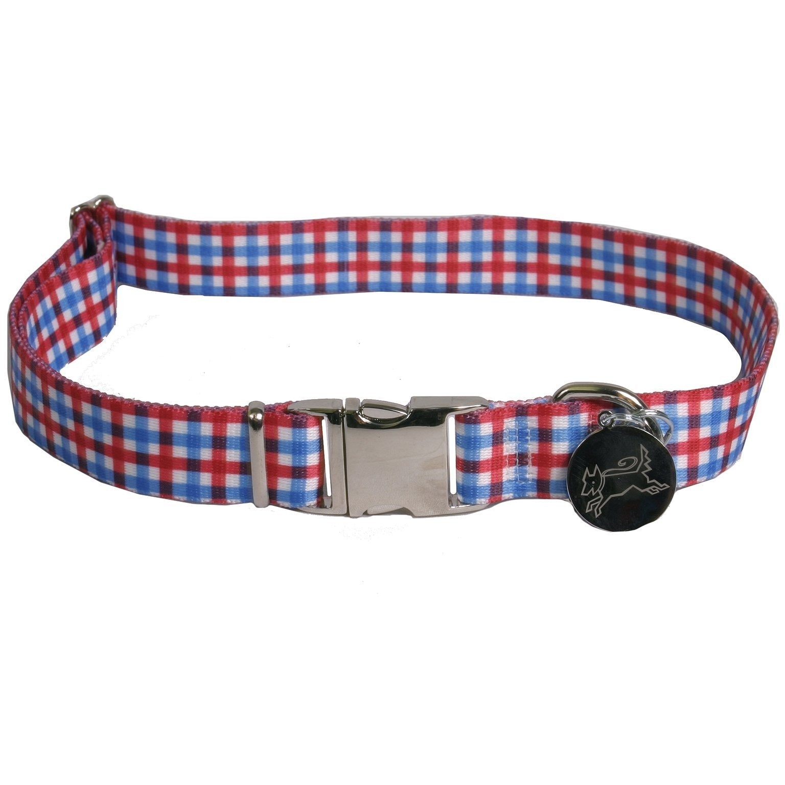 Yellow Dog Design Gingham Red & Blue Dog Collar