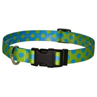 Yellow Dog Design Green & Blue Polka Dot Dog Collar