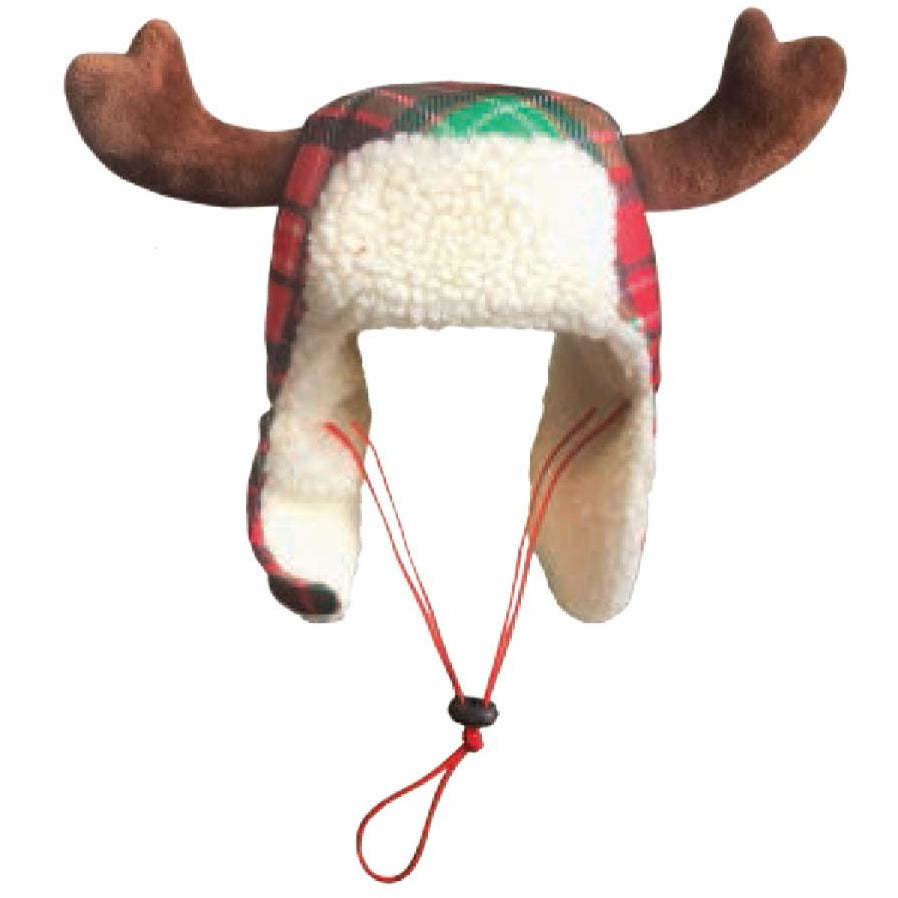 Huxley & Kent Red Tartan Trapper Hat with Antlers