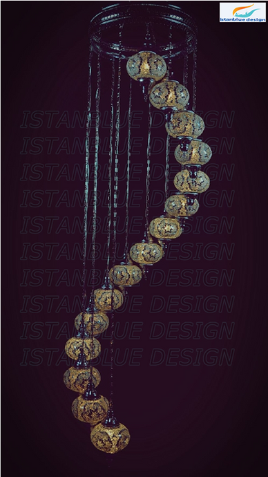 Mosaic spiral chandeliers istanblue design turkish handmade mosaic 15 globe spiral chandelier aloadofball Image collections