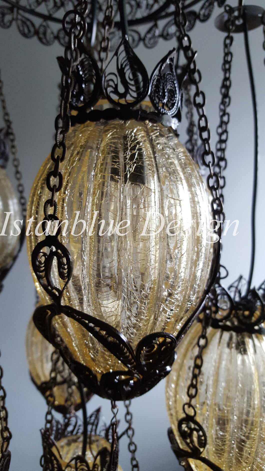 FILIGREE & BLOWN Glass Turkish Handmade 7 Globe Chandelier