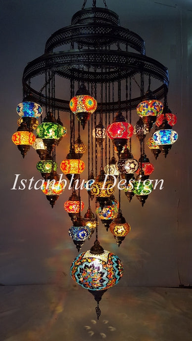 Grand lighting istanblue design 35 globe stunning turkish mosac chandelier 35 globe extra large mozeypictures Images