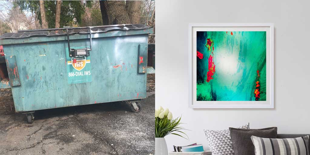 Green Dumpster before & after