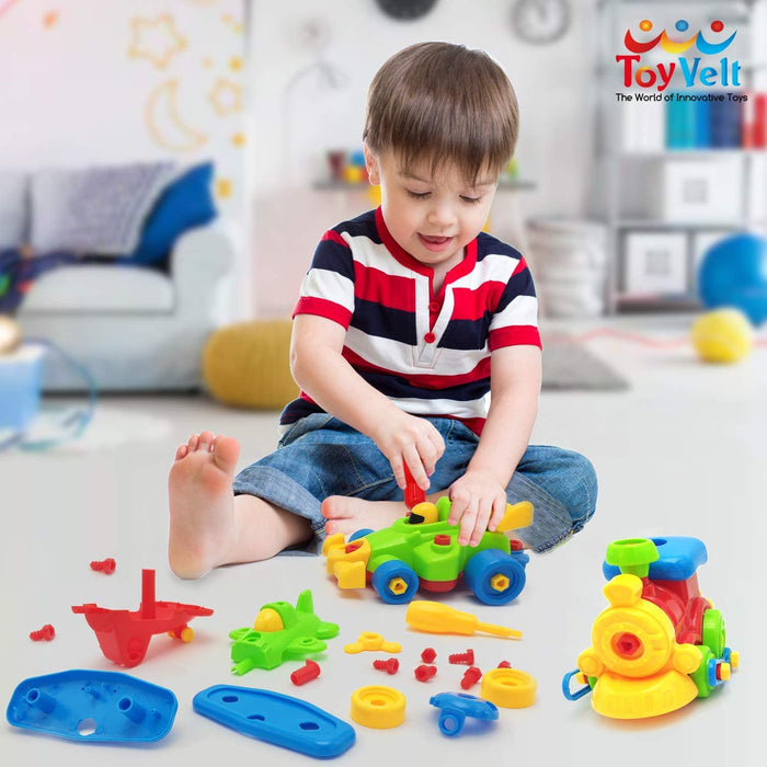 ToyVelt Take Apart Train, Airplane And Sports Car Take-A-Part Play Set - Construction Engineering Building Game