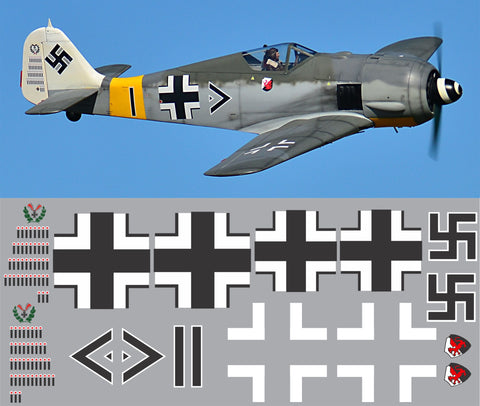 FW-190 Black Double Chevron Graphics Set