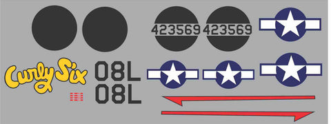 P-38 Curly Six Graphics Set