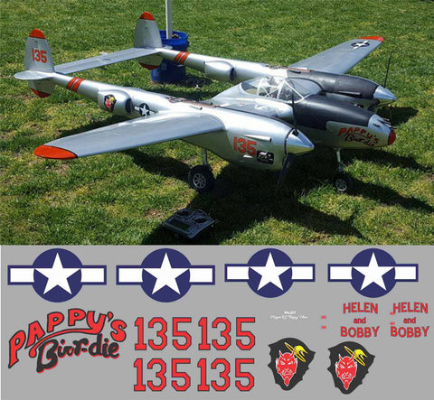 P-38 Pappy's Birr-die Graphics Set