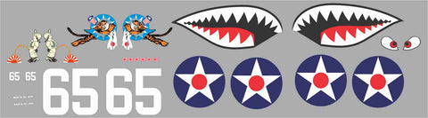 P-40 Flying Tigers White #65 Graphics Set