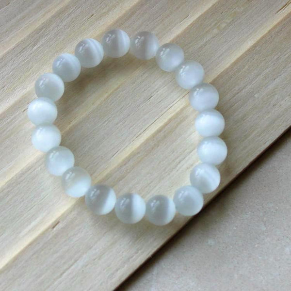 Cat's Eye White Opal Beads Bracelet - 6/ 8/ 10/ 12 mm - Yoga Jewelry - Prima Petal