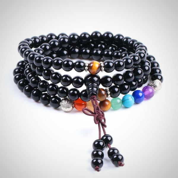 7 Chakra Black Onyx 108 Mala Healing Yoga Meditation Necklace/ Bracelet - Yoga Jewelry - Prima Petal