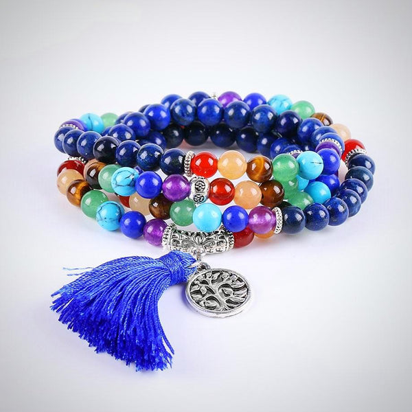7 Chakra Lapis Lazuli Yoga Meditation Necklace/ Bracelet - Yoga Jewelry - Prima Petal