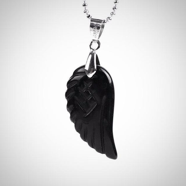 Obsidian Angel Wing Pendant