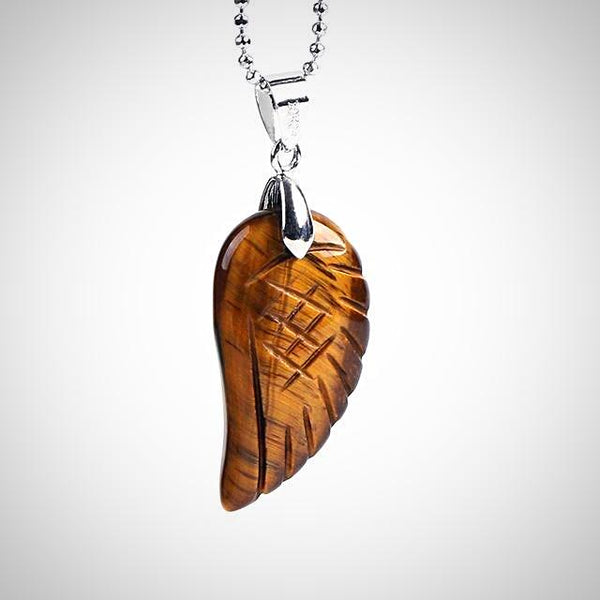 Angel Wing Pendant - Tiger Eye - Prima Petal - Yoga Jewelry