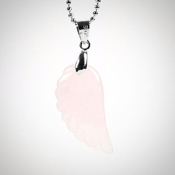 Rose Quartz Angel Wing Pendant - Prima Petal - Yoga Jewelry